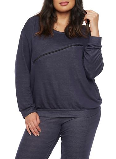 Plus Size French Terry Zip Trim Sweatshirt,NAVY,large