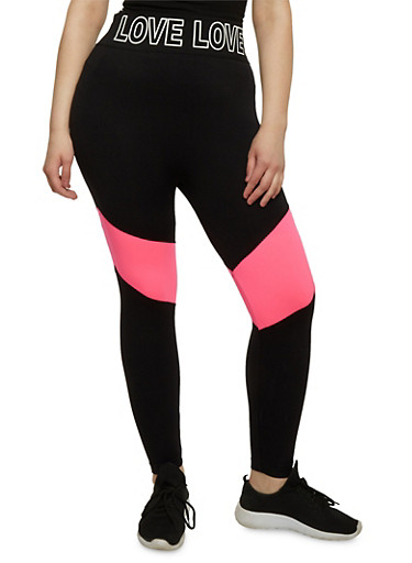 Plus Size Love Graphic Activewear Leggings,PINK,large