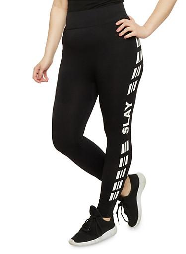 Plus Size Slay Graphic Activewear Leggings,WHITE,large