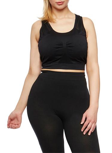 Plus Size Activewear Cropped Tank Top,BLACK,large