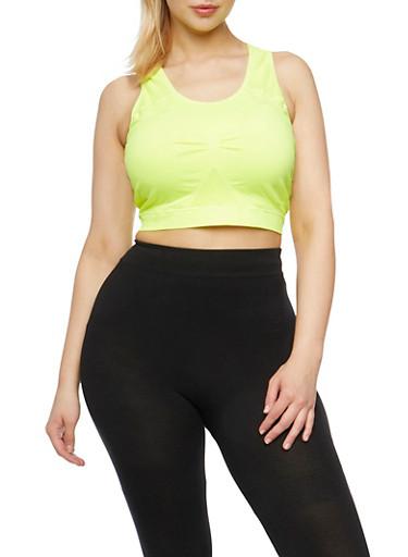 Plus Size Activewear Racerback Crop Top,LIME,large