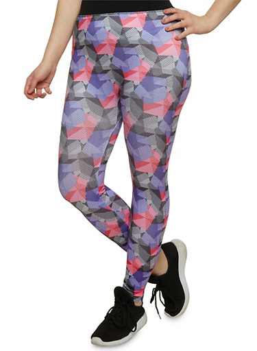 Plus Size Printed Activewear Leggings,NEON PINK,large
