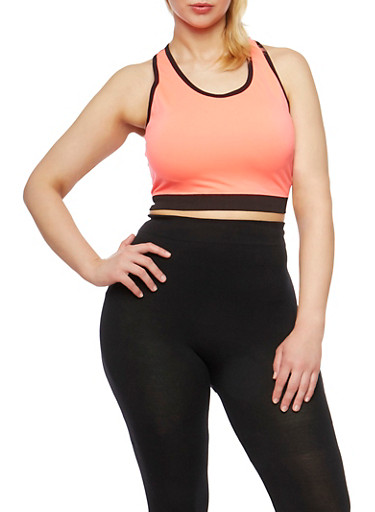 Plus Size Activewear Cropped Tank Top,CORAL,large