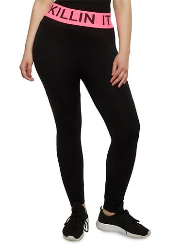 Plus Size Killin it Graphic Activewear Leggings,NEON PINK,large