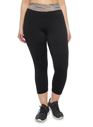 Plus Size Capri Activewear Leggings with Space Dye Waist,BLACK,large