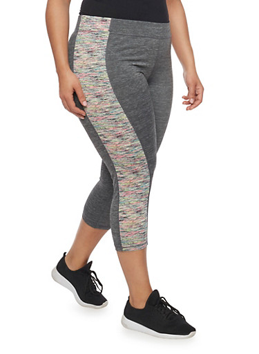 Plus Size Color Block Capri Activewear Leggings with Space Dye Trim,PINK,large