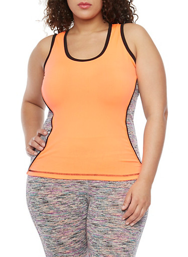 Plus Size Activewear Tank Top with Space Dye Trim,PURPLE,large