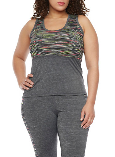 Plus Size Space Dye Colorblock Activewear Tank Top,FUCHSIA,large