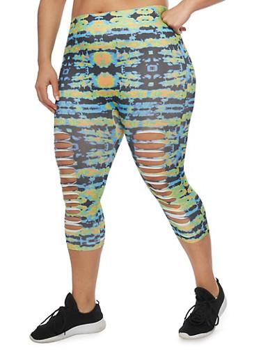 Plus Size Tie Dye Laser Cut Capri Leggings,BLK-GRN-ORANGE COMBO,large