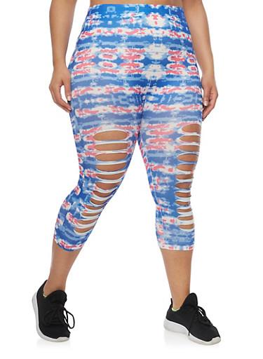 Plus Size Tie Dye Laser Cut Capri Leggings,DEEP BLUE/ FUSHIA CO,large