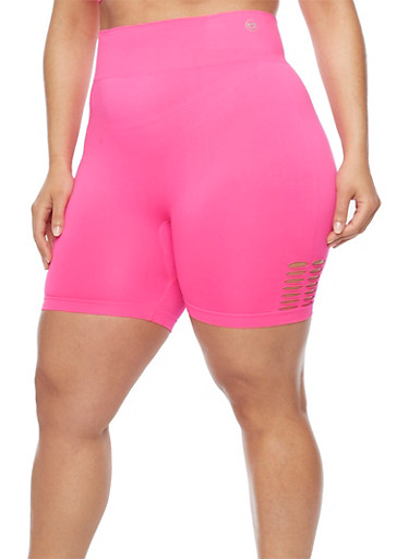 Plus Size Bike Shorts with Lasercut Accent,FUCHSIA,large