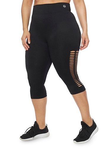 Plus Size Laser Cut Capri Leggings,BLACK,large