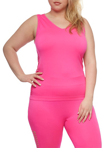 Plus Size Sleeveless Activewear Top with Lasercut Trim,FUCHSIA,large
