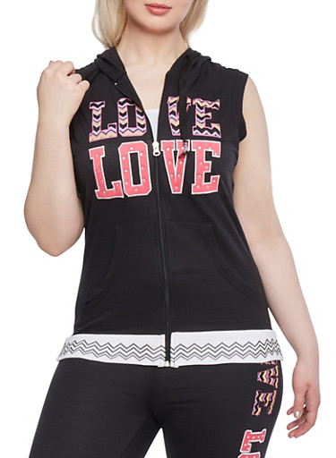 Plus Size Sleeveless Hoodie with Love Print,BLACK,large