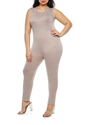 Plus Size Marled Sleeveless Catsuit,BLUSH,large
