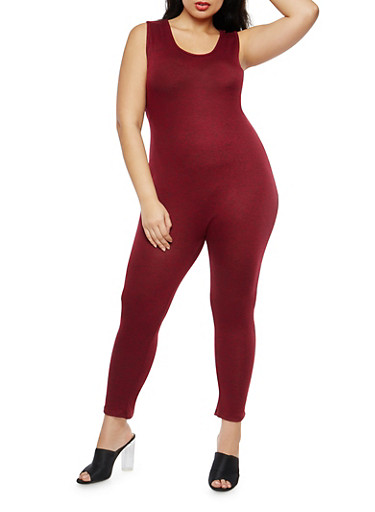 Plus Size Marled Sleeveless Catsuit,BURGUNDY,large