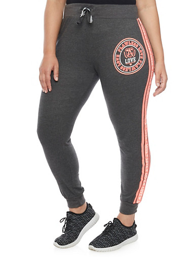 Plus Size Flawless Love Graphic Joggers,CHARCOAL,large