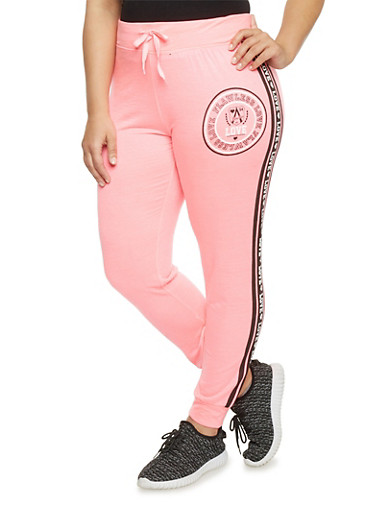 Plus Size Flawless Love Graphic Joggers,FUCHSIA,large