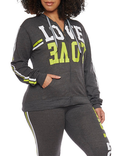 Plus Size Love Graphic Hoodie,CHARCOAL,large