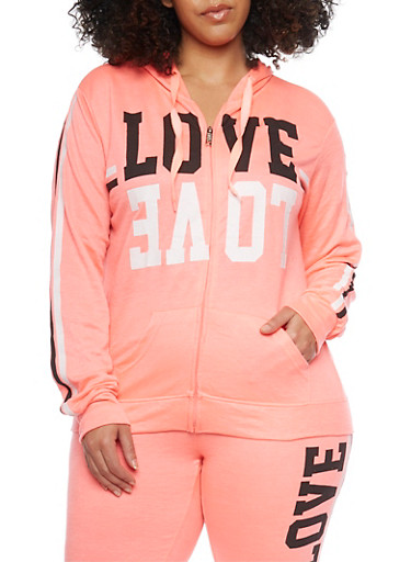 Plus Size Love Graphic Hoodie,CORAL,large