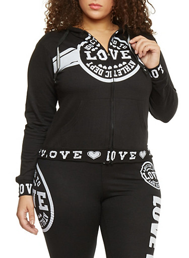 Plus Size Love Graphic Zip Up Athletic Hoodie,BLACK,large