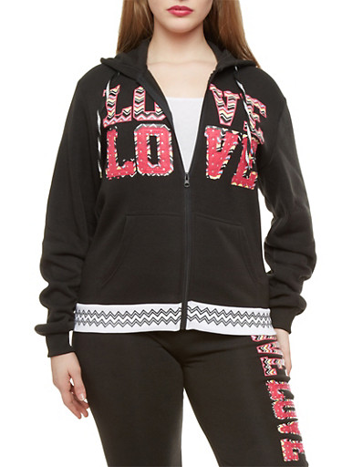 Plus Size Love Graphic Chevron Hoodie,BLACK,large
