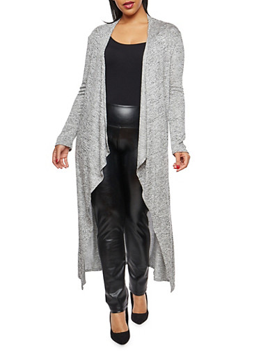 Plus Size Drape Front Duster,H GRAY,large