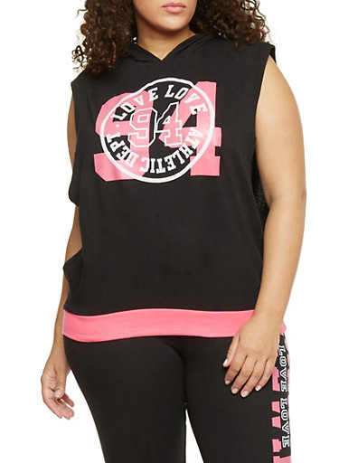 Plus Size Sleeveless Love 94 Graphic Hoodie,BLACK,large