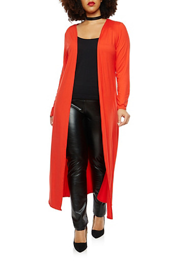 Plus Size Soft Knit Open Front Duster,RED,large