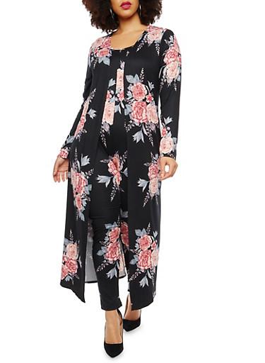 Plus Size Floral Soft Knit Duster,BLACK-MAUVE,large