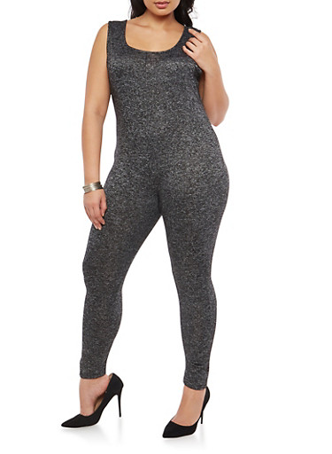 Plus Size Marled Catsuit,BLACK/WHITE,large