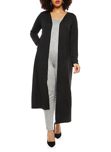 Plus Size Marled Open Front Duster,BLACK-WHITE,large