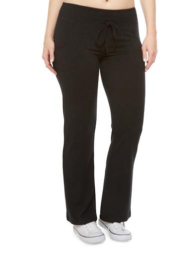 Plus Size Drawstring Activewear Pants,BLACK,large