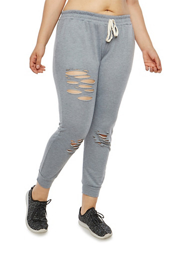 Plus Size Slashed French Terry Joggers,HEATHER GERY,large