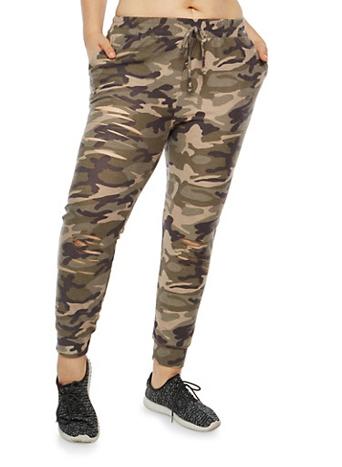 Plus Size Ripped Camo Joggers,OLIVE,large