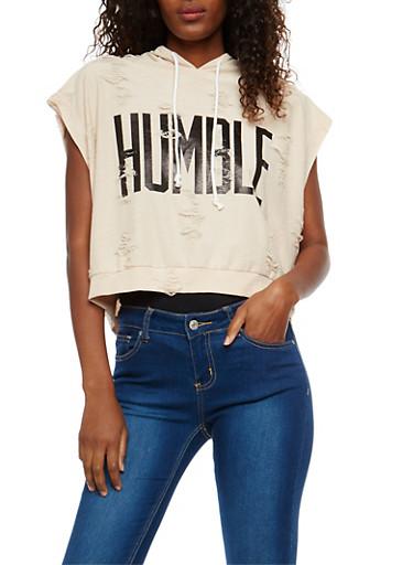 Plus Size Distressed Humble Graphic Hooded Sweatshirt,MOCHA,large