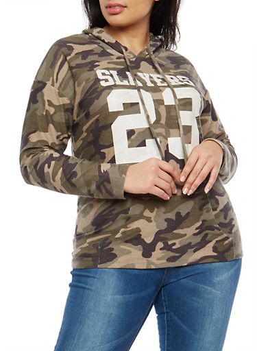 Plus Size Slayers Graphic Camo Hooded Sweatshirt,OLIVE,large