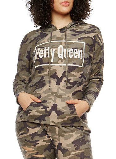 Plus Size Petty Queen Graphic Camo Sweatshirt,OLIVE,large