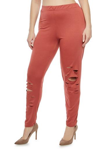Plus Size Laser Cut Casual Pants,MAUVE,large