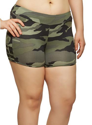 Plus Size Camo Print Mesh Insert Shorts,OLIVE,large