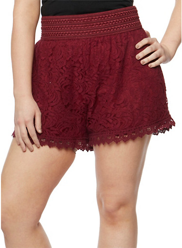 Plus Size Lace Shorts with Embroidered Waist,BURGUNDY,large
