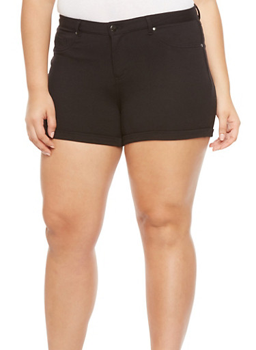 Plus Size Soft Knit Shorts with Roll Cuffs,BLACK,large