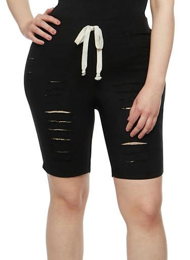 Plus Size Slashed Knit Bermuda Shorts,BLACK,large