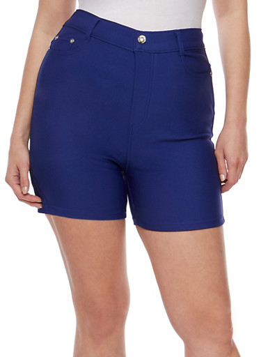 Plus Size Stretch Knit Shorts,ROYAL,large