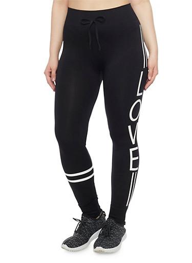 Plus Size Love Graphic Varsity Activewear Leggings,BLACK,large