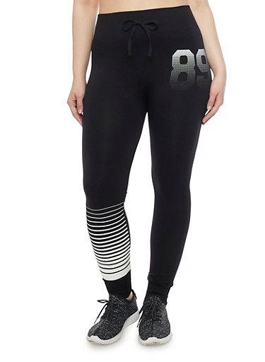 Plus Size 89 Graphic Athletic Leggings with Faux Drawstring,BLACK,large