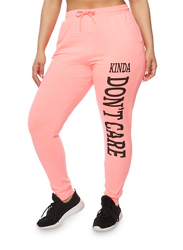 Plus Size Kinda Dont Care Graphic Joggers,PINK,large