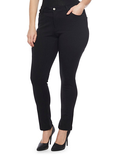 Plus Size Solid Ponte Knit Stretch Pants,BLACK,large