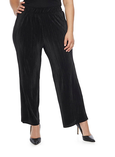 Plus Size Solid Pleated Palazzo Pants,BLACK,large