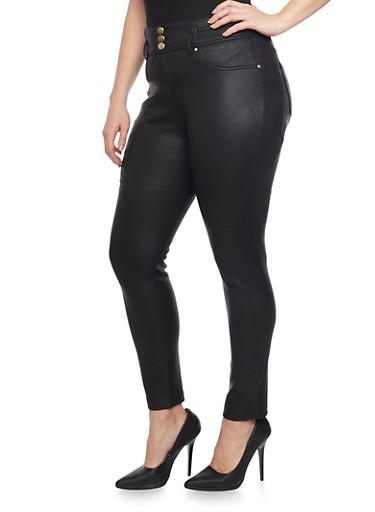 Plus Size Faux Leather 3 Button High Waist  Pants,BLACK,large